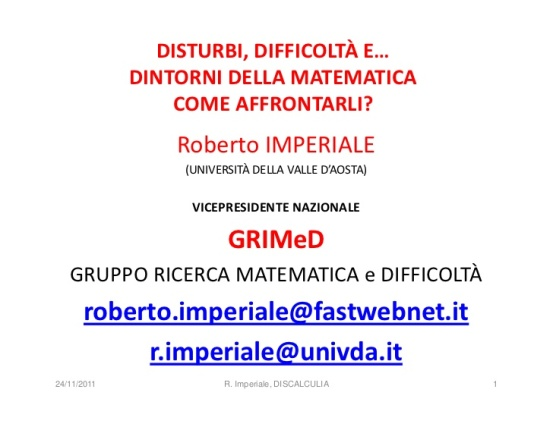 Discalculia e matematica